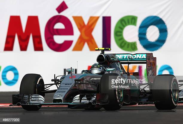 Nico Rosberg of Germany and Mercedes GP drives during the Formula One Grand Prix of Mexico at Autodromo Hermanos Rodriguez on November 1, 2015 in...