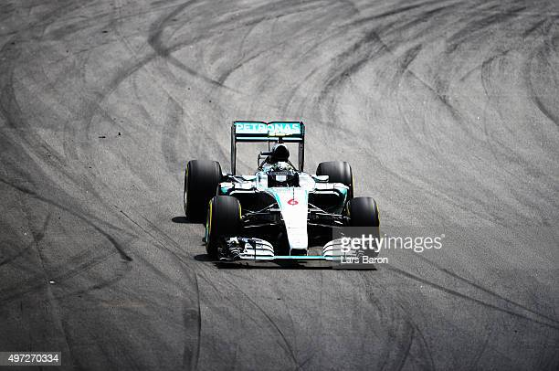 Nico Rosberg of Germany and Mercedes GP drives during the Formula One Grand Prix of Brazil at Autodromo Jose Carlos Pace on November 15 2015 in Sao...