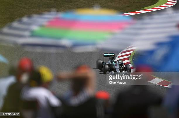 Nico Rosberg of Germany and Mercedes GP drives during the Spanish Formula One Grand Prix at Circuit de Catalunya on May 10, 2015 in Montmelo, Spain.