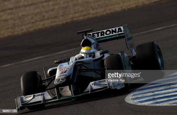 Nico Rosberg of Germany and Mercedes GP drives during winter testing at the Circuito De Jerez on February 19 2010 in Jerez de la Frontera Spain