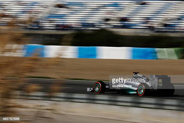 Nico Rosberg of Germany and Mercedes GP drives the new W05 during day two of Formula One Winter Testing at the Circuito de Jerez on January 29 2014...