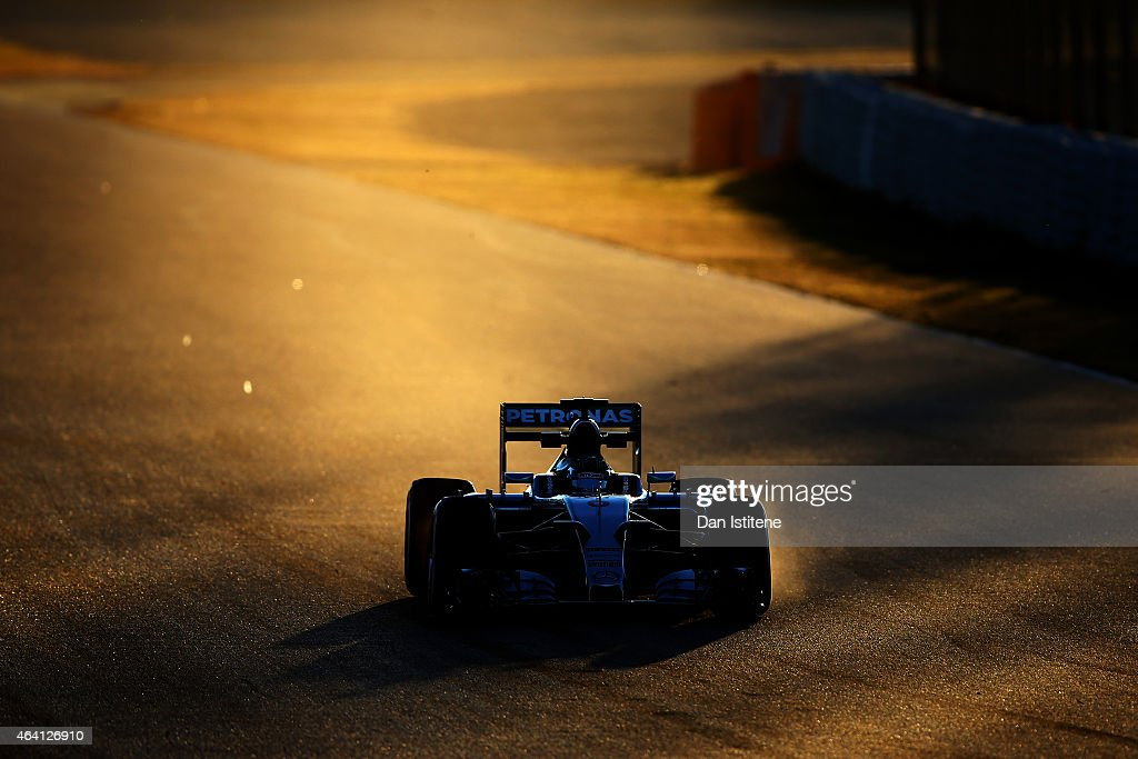 Nico Rosberg of Germany and Mercedes GP drives through the sirty side of the track during day four of Formula One Winter Testing at Circuit de Catalunya on February 22, 2015 in Montmelo, Spain.