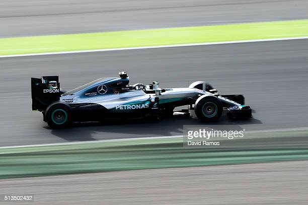 Nico Rosberg of Germany and Mercedes GP during day three of F1 winter testing at Circuit de Catalunya on March 3 2016 in Montmelo Spain