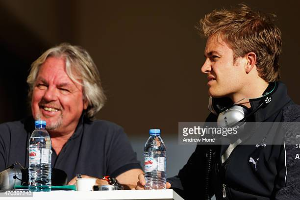 Nico Rosberg of Germany and Mercedes GP is seen with his father Keke Rosberg during day one of Formula One Winter Testing at the Bahrain...
