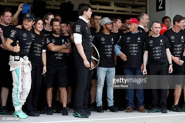 Nico Rosberg of Germany and Mercedes GP Lewis Hamilton of Great Britain and Mercedes GP Mercedes GP Executive Director Toto Wolff Mercedes GP...