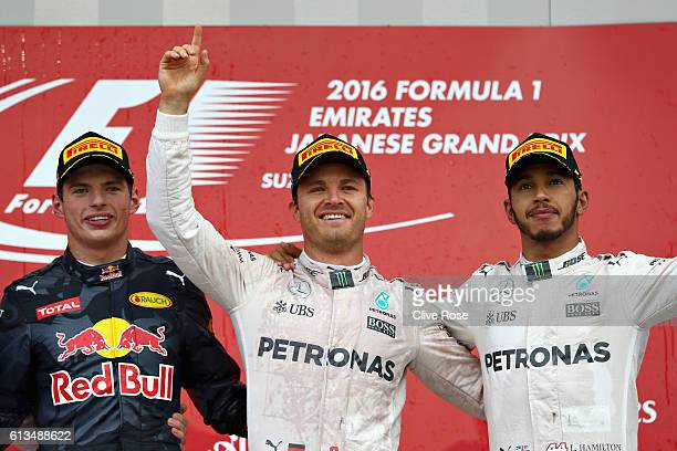 Nico Rosberg of Germany and Mercedes GP Max Verstappen of Netherlands and Red Bull Racing and Lewis Hamilton of Great Britain and Mercedes GP on the...