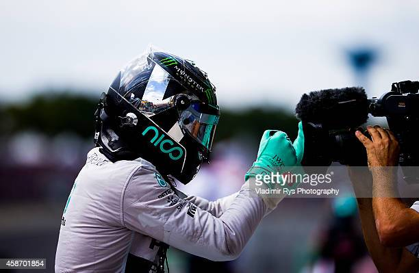 Nico Rosberg of Germany and Mercedes GP Petronas celebrates after winning the Brazilian Formula One Grand Prix at Autodromo Jose Carlos Pace on...