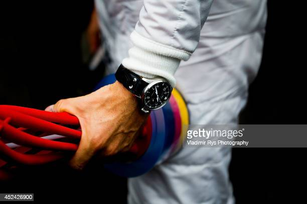 Nico Rosberg of Germany and Mercedes GP Petronas holds his trophy after winning the German Formula One Grand Prix at Hockenheimring on July 20, 2014...