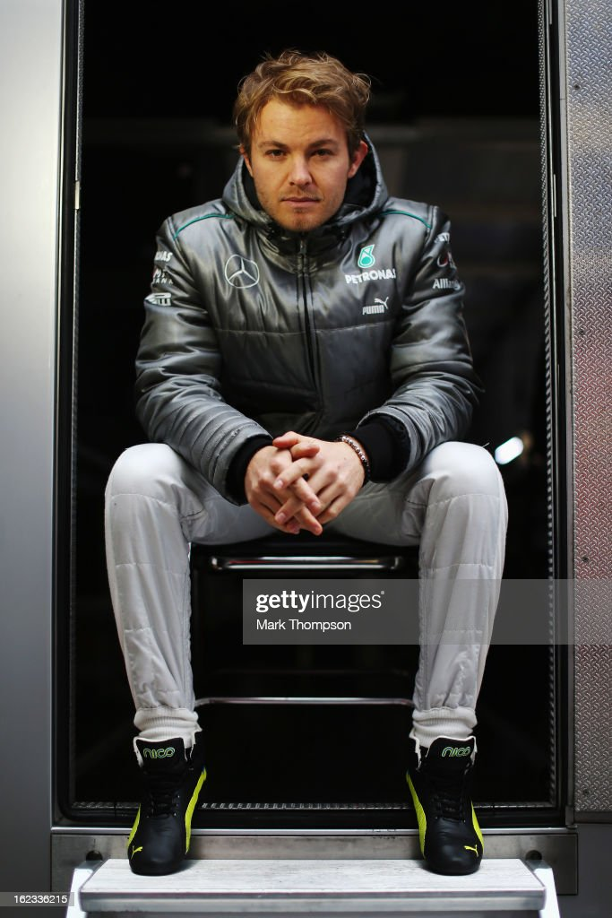 Nico Rosberg of Germany and Mercedes GP poses for a photograph during day four of Formula One winter test at the Circuit de Catalunya on February 22, 2013 in Montmelo, Spain.