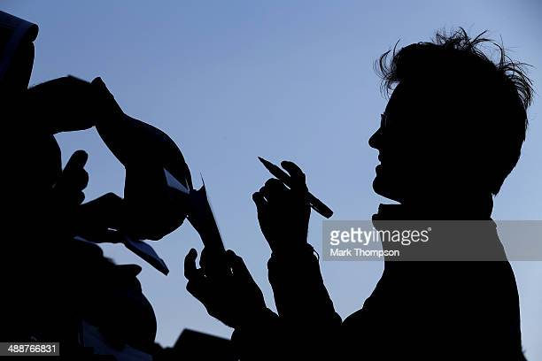Nico Rosberg of Germany and Mercedes GP signs autographs for fans ahead of the Spanish F1 Grand Prix at Circuit de Catalunya on May 8 2014 in...