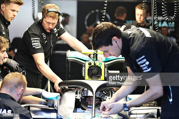 Nico Rosberg of Germany and Mercedes GP sits in his car fitted with the halo in the garage during practice for the Formula One Grand Prix of Belgium...