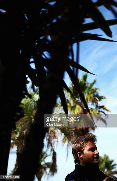 Nico Rosberg of Germany and Mercedes GP talks to the media on St Kilda beach during previews to the Australian Formula One Grand Prix on March 13...