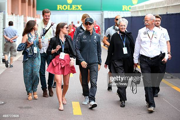 Nico Rosberg of Germany and Mercedes GP walks across the paddock prior to the Monaco Formula One Grand Prix at Circuit de Monaco on May 25 2014 in...