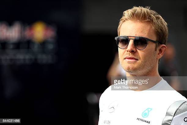 Nico Rosberg of Germany and Mercedes GP walks in the Paddock during practice for the Formula One Grand Prix of Austria at Red Bull Ring on July 1...