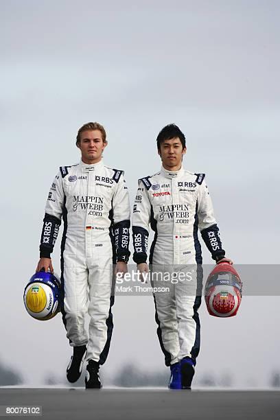 Nico Rosberg of Germany and Williams and Kazuki Nakajima of Japan and Williams during preseason Formula One winter testing at the Monteblanco Circuit...
