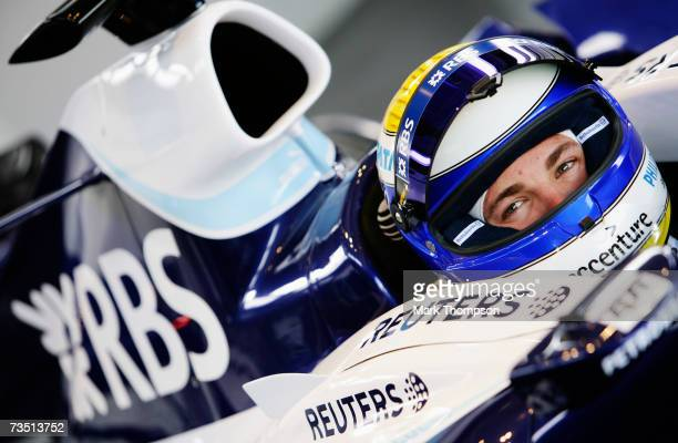 Nico Rosberg of Germany and Williams prepares to drive during Formula One winter testing at the Circuit De Jerez on January 9 2007 in Jerez de la...