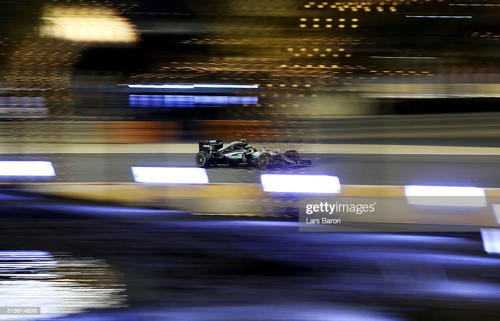 Nico Rosberg of Germany drives the (6) Mercedes AMG Petronas F1 Team Mercedes F1 WO7 Mercedes PU106C Hybrid turbo on track during the Bahrain Formula One Grand Prix at Bahrain International Circuit on April 3, 2016 in Sakhir, Bahrain.
