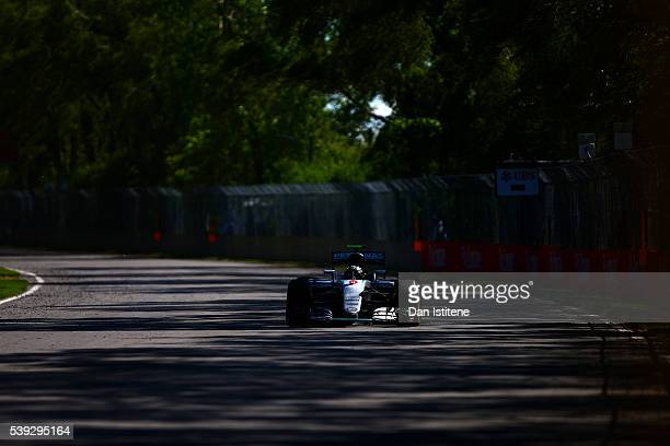 Nico Rosberg of Germany drives the Mercedes AMG Petronas F1 Team Mercedes F1 WO7 Mercedes PU106C Hybrid turbo during practice for the Canadian...