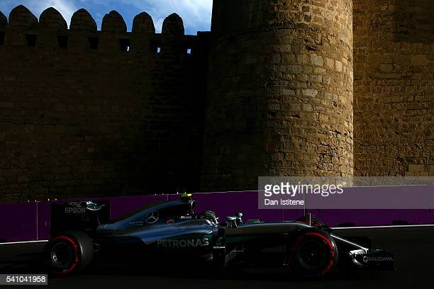 Nico Rosberg of Germany drives the Mercedes AMG Petronas F1 Team Mercedes F1 WO7 Mercedes PU106C Hybrid turbo during qualifying for the European...