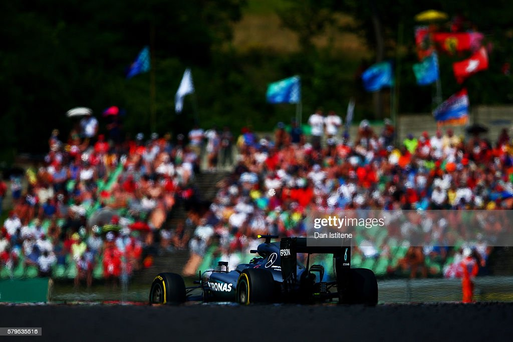Nico Rosberg of Germany drives the Mercedes AMG Petronas F1 Team Mercedes F1 WO7 Mercedes PU106C Hybrid turbo during the Formula One Grand Prix of Hungary at Hungaroring on July 24, 2016 in Budapest, Hungary.