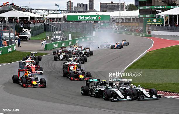 Nico Rosberg of Germany driving the Mercedes AMG Petronas F1 Team Mercedes F1 WO7 Mercedes PU106C Hybrid turbo and Lewis Hamilton of Great Britain...