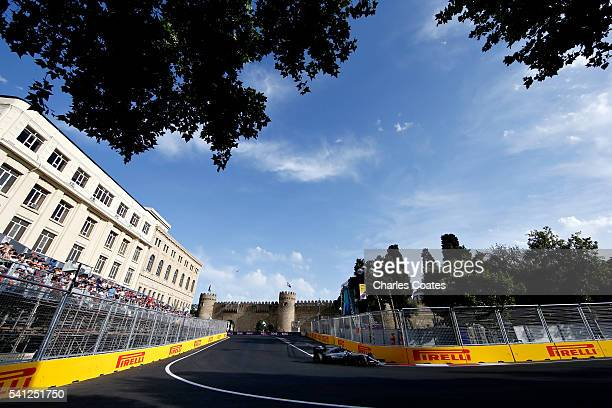 Nico Rosberg of Germany driving the Mercedes AMG Petronas F1 Team Mercedes F1 WO7 Mercedes PU106C Hybrid turbo on track during the European Formula...