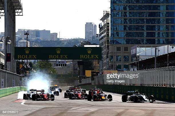 Nico Rosberg of Germany driving the Mercedes AMG Petronas F1 Team Mercedes F1 WO7 Mercedes PU106C Hybrid turbo leads Daniel Ricciardo of Australia...