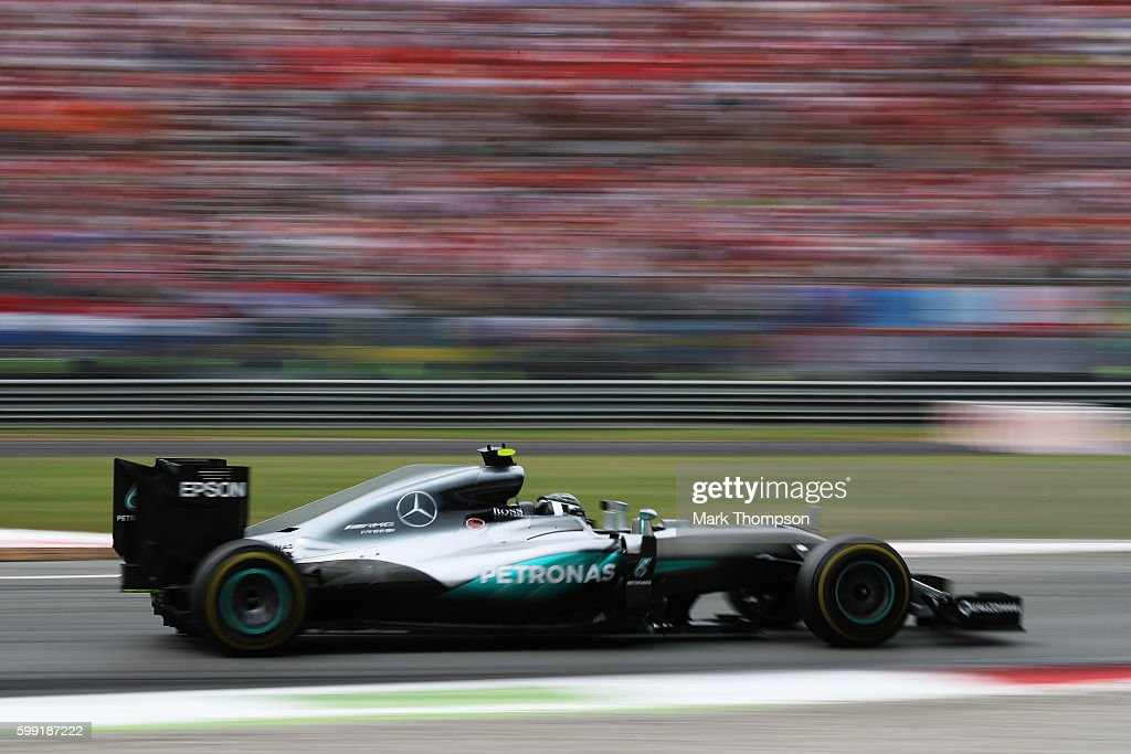 Nico Rosberg of Germany driving the (6) Mercedes AMG Petronas F1 Team Mercedes F1 WO7 Mercedes PU106C Hybrid turbo on track during the Formula One Grand Prix of Italy at Autodromo di Monza on September 4, 2016 in Monza, Italy.