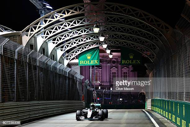 Nico Rosberg of Germany driving the Mercedes AMG Petronas F1 Team Mercedes F1 WO7 Mercedes PU106C Hybrid turbo on track during qualifying for the...