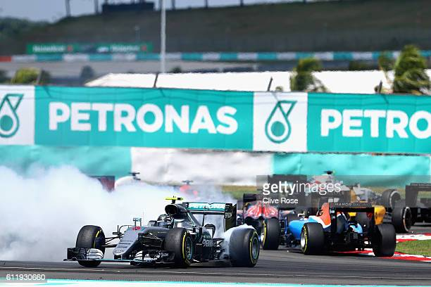 Nico Rosberg of Germany driving the Mercedes AMG Petronas F1 Team Mercedes F1 WO7 Mercedes PU106C Hybrid turbo spins on the circuit at the first...