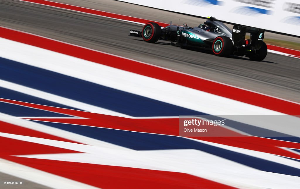 Nico Rosberg of Germany driving the (6) Mercedes AMG Petronas F1 Team Mercedes F1 WO7 Mercedes PU106C Hybrid turbo on track during practice for the United States Formula One Grand Prix at Circuit of The Americas on October 21, 2016 in Austin, United States.