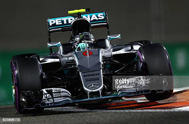 Nico Rosberg of Germany driving the Mercedes AMG Petronas F1 Team Mercedes F1 WO7 Mercedes PU106C Hybrid turbo on track during qualifying for the Abu...