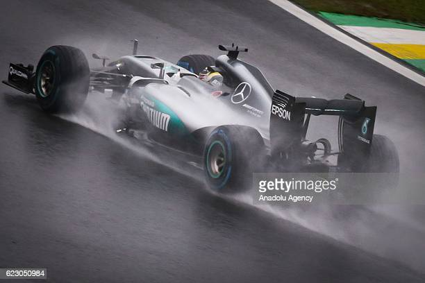 Nico Rosberg of Mercedes AMG Team competes during Formula One Grand Prix of Brazil at Autodromo Jose Carlos Pace in Sao Paulo Brazil on November 13...