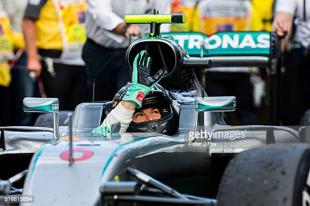 Nico Rosberg of Mercedes and Germany wins the Australian Formula One Grand Prix at Albert Park on March 20 2016 in Melbourne Australia