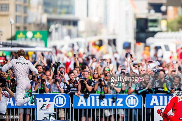 Nico Rosberg of Mercedes and Germany wins the European Formula One Grand Prix at Baku City Circuit on June 19 2016 in Baku Azerbaijan