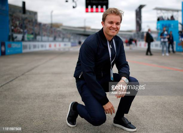 Nico Rosberg poses on the race track at the ABB FIA Formula E Championship during day 3 of the Greentech Festival at Tempelhof Airport on May 25,...
