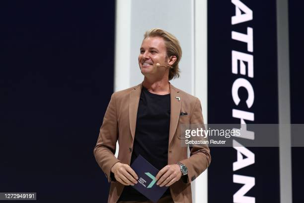 Nico Rosberg speaks on stage during day 2 of the Greentech Festival at Kraftwerk Mitte on September 17, 2020 in Berlin, Germany. The Greentech...