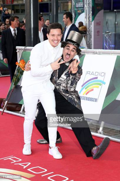 Nico Santos and Charlie Chaplin look a like during the Radio Regenbogen Award at Europapark on April 12 2019 in Rust Germany