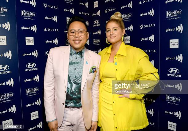 Nico Santos and Meghan Trainor attend the 30th Annual GLAAD Media Awards Los Angeles at The Beverly Hilton Hotel on March 28 2019 in Beverly Hills...