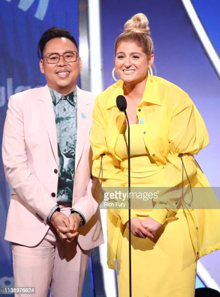 Nico Santos and Meghan Trainor speak onstage during the 30th Annual GLAAD Media Awards Los Angeles at The Beverly Hilton Hotel on March 28 2019 in...