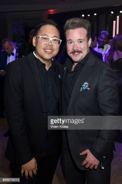 Nico Santos and Zeke Smith attend the Hyundai AfterParty at the 29th Annual GLAAD Media Awards Los Angeles at The Beverly Hilton Hotel on April 12...