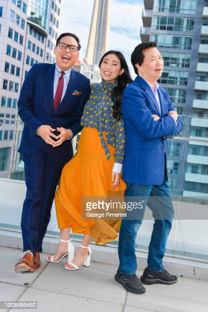 Nico Santos Awkwafina and Ken Jeong arrive In Toronto To Celebrate The Release Of Crazy Rich Asians on July 30 2018 in Toronto Canada
