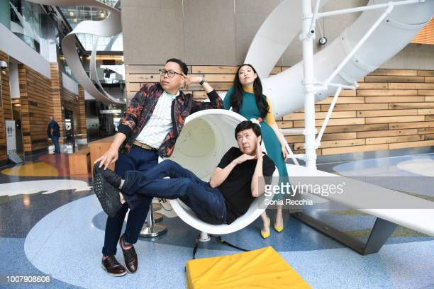 Nico Santos Ken Jeong and Awkwafina touch down in Toronto to celebrate the release of Crazy Rich Asians on July 30 2018 in Toronto Canada