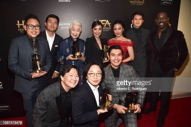 Nico Santos Ronny Chieng Lisa Lu Michelle Yeoh Constance Wu Harry Shum Jr Ken Jeong Jimmy O Yang and Henry Golding Hollywood Breakout Ensemble Award...