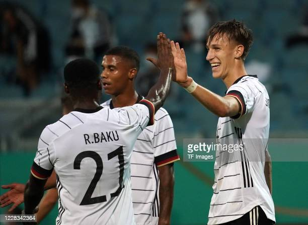 Nico Schlotterbeck of Germany celebrates his team's third goal during the UEFA Euro Under 21 Qualifier match between Germany U21 and Moldavia U21 at...
