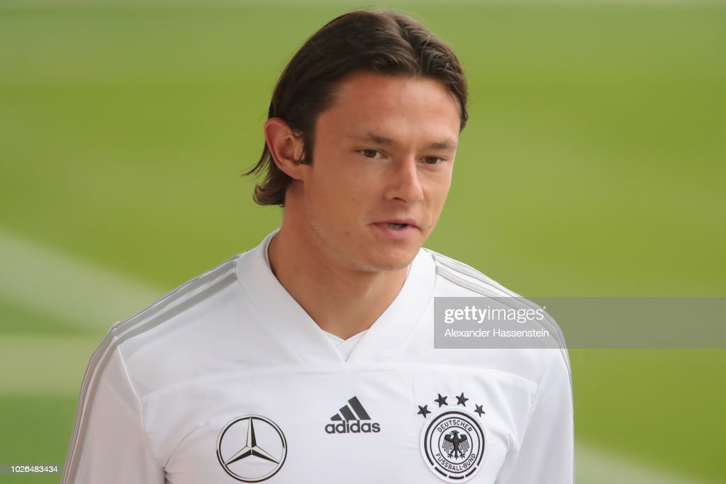 Nico Schulz arrives at the venue prior to a training session of the German national team at FC Bayern Campus on September 3, 2018 in Munich, Germany.