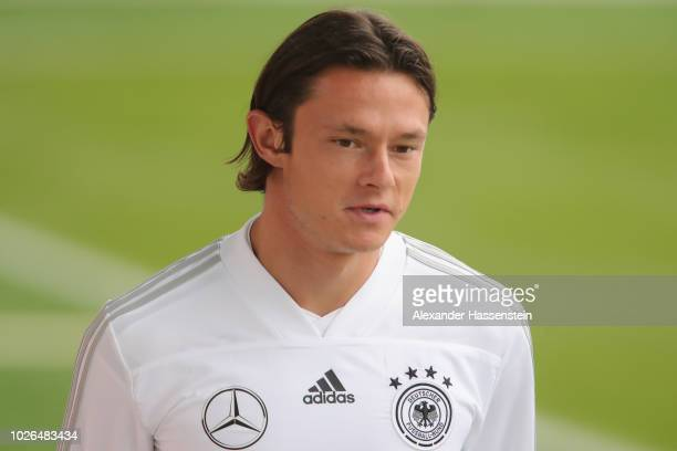 Nico Schulz arrives at the venue prior to a training session of the German national team at FC Bayern Campus on September 3 2018 in Munich Germany