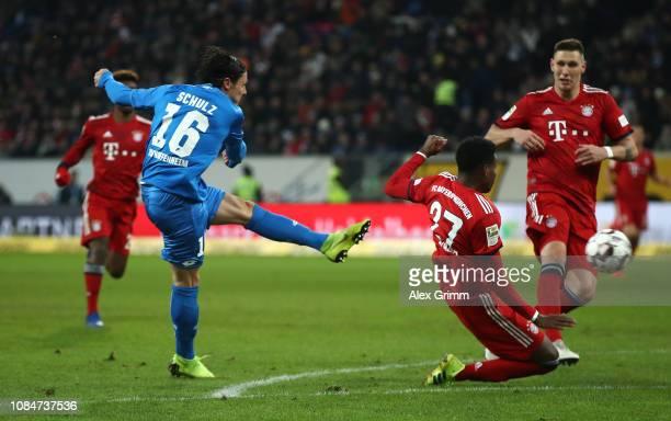 Nico Schulz of 1899 Hoffenheim scores the first Hoffenheim goal during the Bundesliga match between TSG 1899 Hoffenheim and FC Bayern Muenchen at...