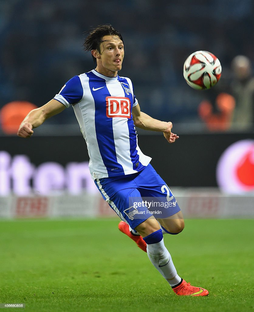 Nico Schulz of Berlin in action during the Bundesliga match between Hertha BSC and Vfb Stuttgart at Olympiastadion on October 3, 2014 in Berlin, Germany.