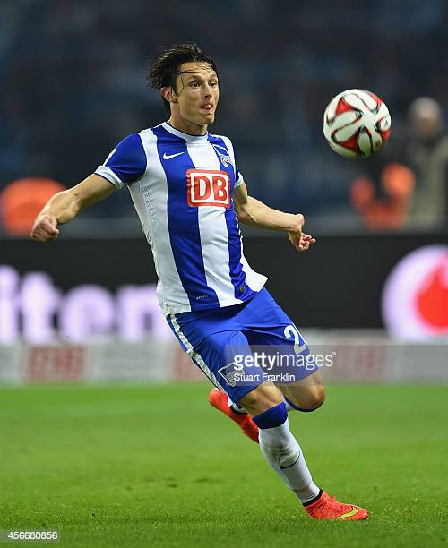 Nico Schulz of Berlin in action during the Bundesliga match between Hertha BSC and Vfb Stuttgart at Olympiastadion on October 3 2014 in Berlin Germany